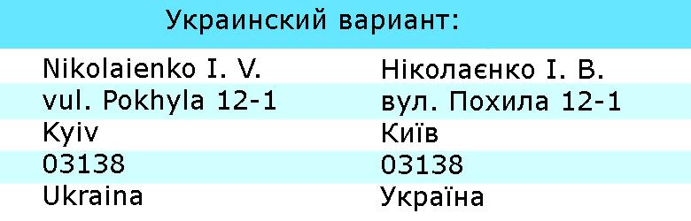 пример написания украинского адреса на английском языке