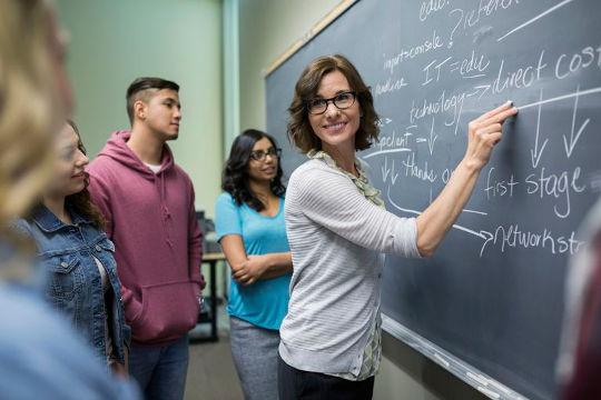 Учитель возле доски помогает ученикам изучать английский язык